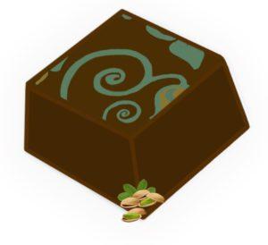 Pralina pistacjowa i czekolada mleczna